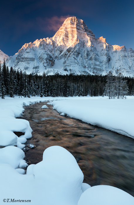 Snowshoed two miles back to the base of this spectacular spiral mountain in Banff National Park, camped two nights in zero degrees...