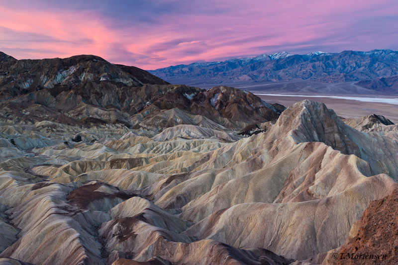 Soft light at sunrise as seen from Zabriskie Point in Death Valley National Park.
