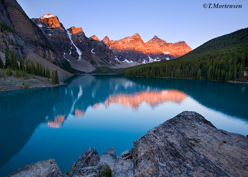 The Valley of Ten Peaks in Banff National Park at Lake Moraine.