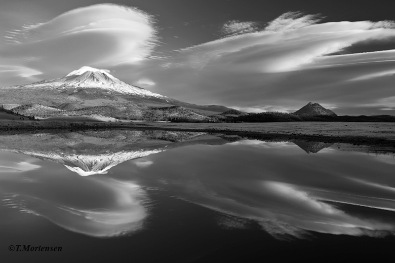 A nice presentation of lenticular clounds displayed over Mount Shasta before sunset, then everything lenticular turned...