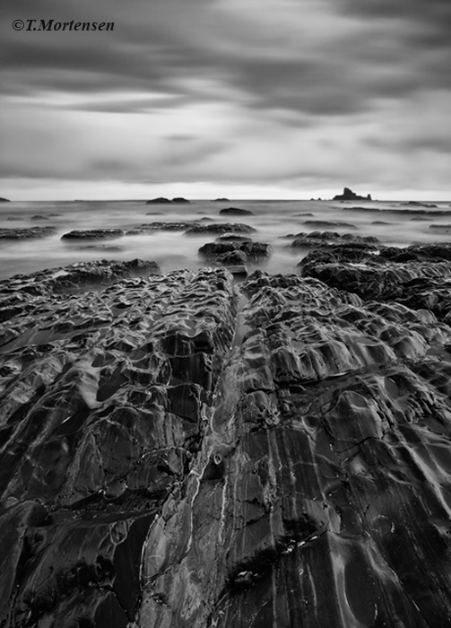 Long exposure reveals several stepping stones that appear to go on to infinite.