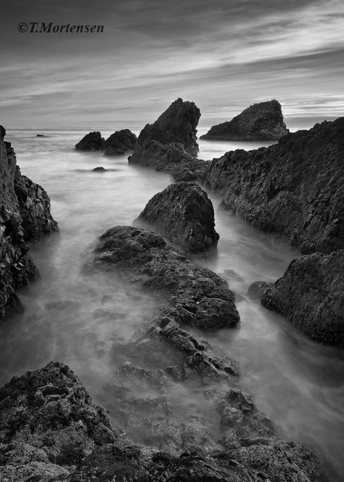 Sea stacks off the Oregon coast appear as passing sailing ships as the Pacific NW tide rises.