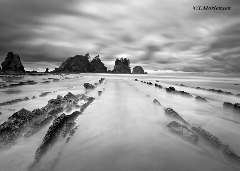 A remote location in the Olympic National Park exposes these great rock lines at low tide.