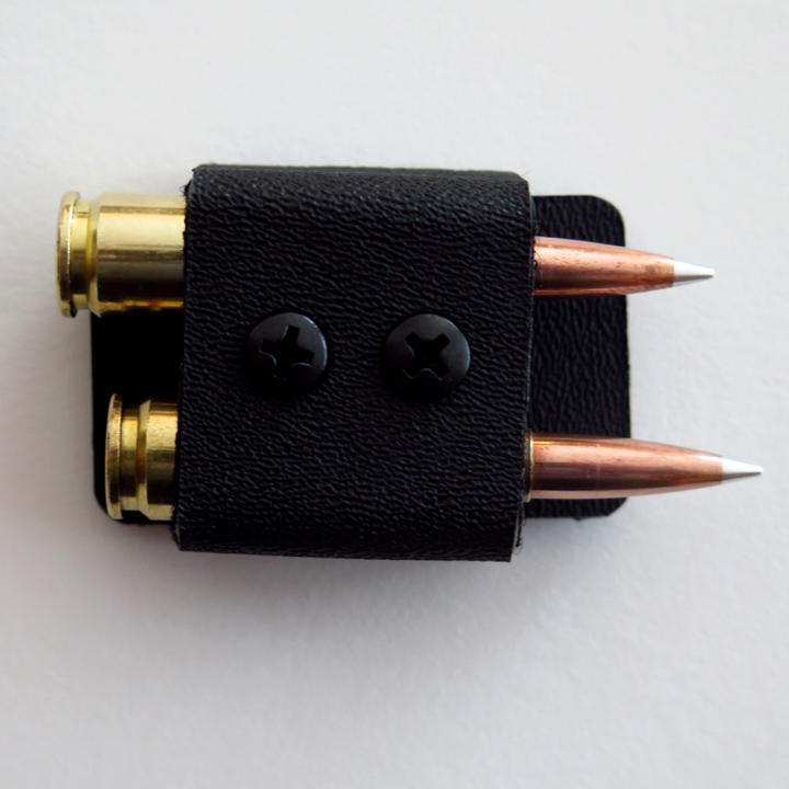 2 Round Quiver for 6mm, 6.5 & .308 Calibers.  Attach to rifle near ejection port by dual lock velcro, two round holder